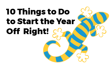 """Salamander with title """"10 Things to Do to Start the Year off Right"""""""