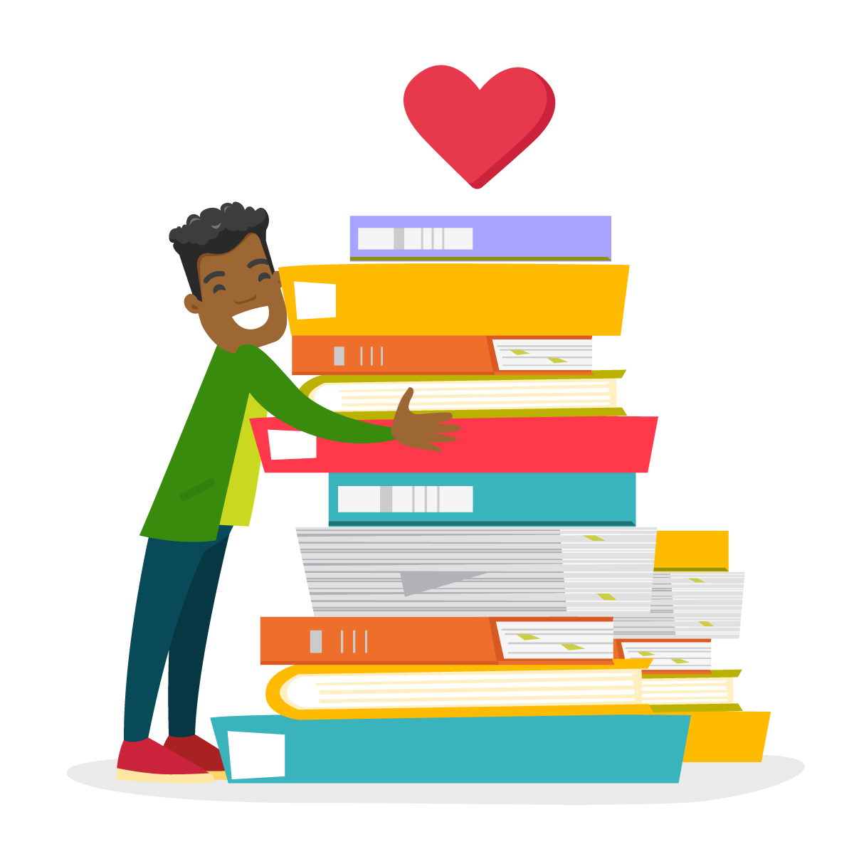 Illustration of boy hugging a pile of books with a heart floating over the books