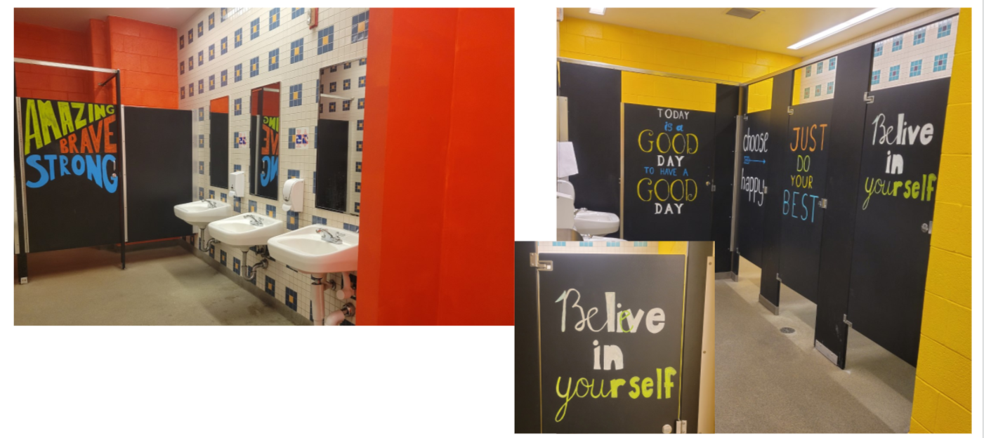 Photos of bright, inspirational artwork painted by Ms. Brooking in SCES bathrooms