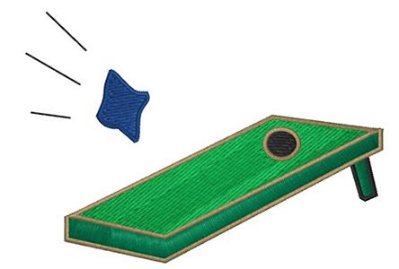 Cartoon image of a cornhole game