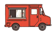 Cartoon of a red food truck