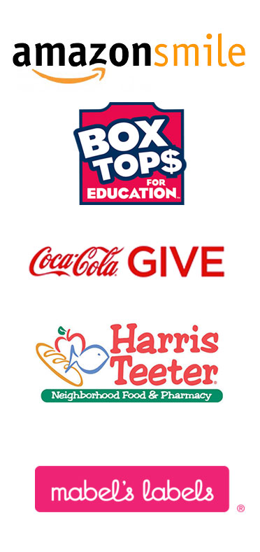 AmazonSmile, BoxTops, CocaCola GIVE, Harris Teeter and Mabel's Labels logos