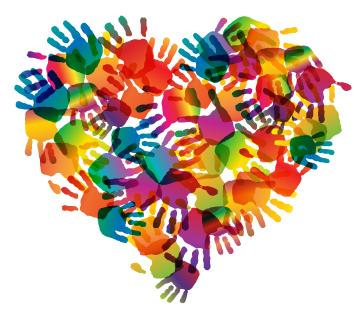 Multicolored hand prints creating a heart shape