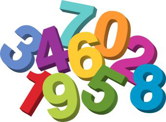 Jumble of brightly colored numbers