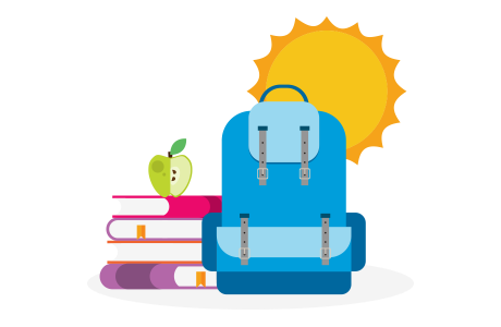 Backpack on top of books with sunshine in the background