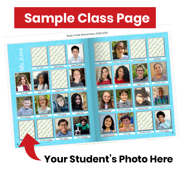 Sample class page layout for 5th grade memory book