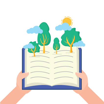 Illustration of hands holding a book with trees, clouds and a sun rising from the pages