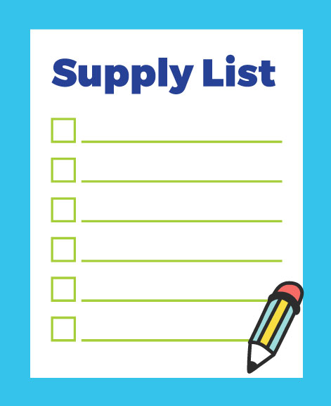 Colorful image of supply list with check boxes and pencil