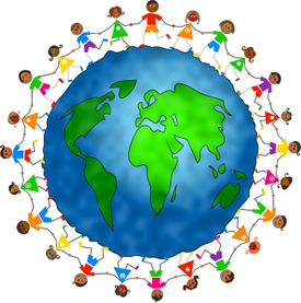 Image of globe surrounded by diverse children