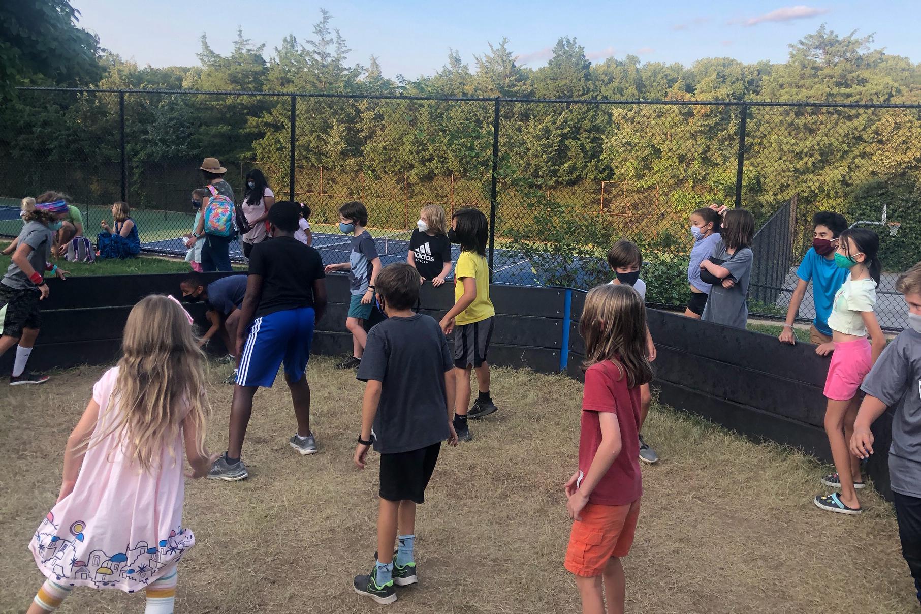 Students enjoy the new Gaga ball pit