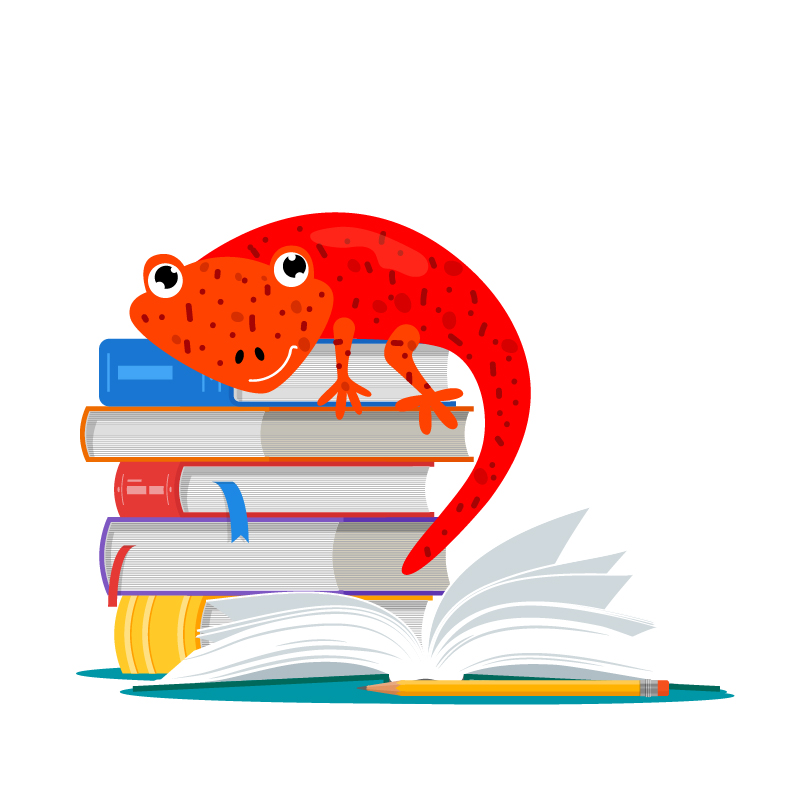Salamander sitting on top of a pile of books